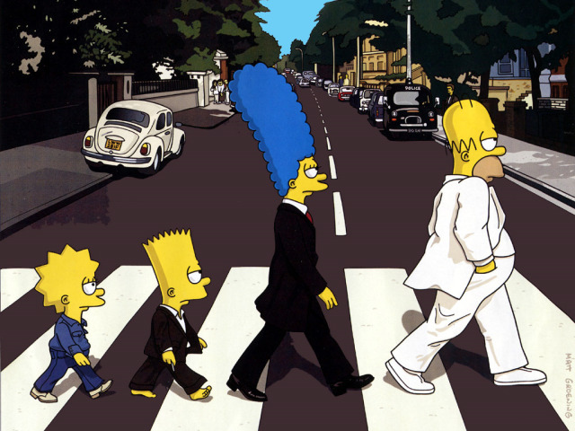 The Simpsons On Abbey Road Wallpaper